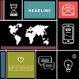 Placez les icônes pour les affaires, l'Internet et la communication Photos libres de droits