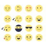 Placez les icônes souriantes pour des applications et la causerie Émoticônes avec différentes émotions d'isolement sur le fond bl illustration de vecteur
