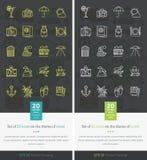 Placez les icônes sur le thème du voyage et des vacances Image libre de droits