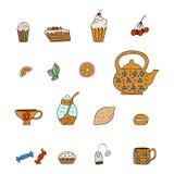 Placez les icônes tirées de thé Photos libres de droits