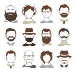 Placez les illustrations -- avatars masculins Photographie stock