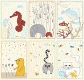 Placez les illustrations avec des animaux Image stock