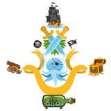 Placez les illustrations avec des attributs de pirate Pirates médiévaux de divers articles Dessin de bande dessinée pour des appl illustration de vecteur