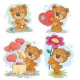 Placez les illustrations de clipart (images graphiques) de vecteur des ours de nounours Photographie stock libre de droits