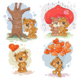 Placez les illustrations de clipart (images graphiques) de vecteur des ours de nounours enamourés Image stock