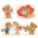 Placez les illustrations de clipart (images graphiques) de vecteur des ours de nounours enamourés Photos stock