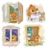 Placez les illustrations de clipart (images graphiques) de vecteur des ours de nounours ennuyés Photos stock