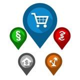 Placez les indicateurs de carte/boutique bleue de goupille/le paragraphe goupille de vert/ Images libres de droits