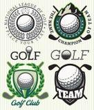 Placez les insignes de modèles de vecteur avec des attributs pour le golf illustration de vecteur
