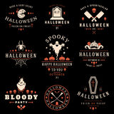 Placez les insignes et les labels heureux de Halloween de vintage Photographie stock