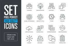 Placez les lignes de haute qualité parfaites icônes de pixel de vecteur