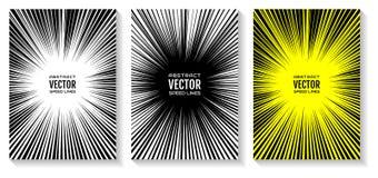 Placez les lignes de vitesse de bande dessinée fond radial avec l'explosion de puissance d'effet L'espace libre au centre pour vo illustration stock