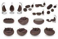 Placez les meubles de rotin Photographie stock