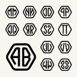 Placez les monogrammes 2create de deux lettres dans un hexagone Photo stock