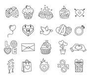 Placez les objets de Saint Valentin, icône d'amour illustration libre de droits