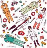 Placez les objets et les médecins médicaux d'isolement Photographie stock