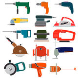 Placez les outils électriques de construction d'icônes de couleur sur le fond blanc Image stock