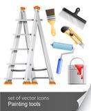 Placez les outils de peintre Images libres de droits