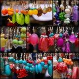 Placez les pendants en pierre colorés de boucles d'oreille de collage photo libre de droits