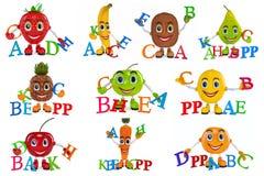 Placez les personnages de dessin animé de fruit Image stock