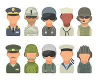 Placez les personnes de militaires de caractère d'icône Soldat, dirigeant, pilote, marine, marin, soldat de la cavalerie Image libre de droits