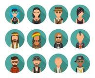 Placez les personnes différentes de cultures secondaires d'icône Hippie, raper, emo, rastafarian, punk, cycliste, goth, hippie, m illustration de vecteur