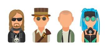 Placez les personnes différentes de cultures secondaires d'icône Metalhead, steampunk, skinhead, cybergoth illustration stock
