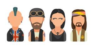 Placez les personnes différentes de cultures secondaires d'icône Punk, cycliste, goth, hippie illustration de vecteur