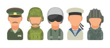 Placez les personnes militaires russes de caractère d'icône Soldat, dirigeant, pilote, marine, soldat de la cavalerie, marin Photo stock