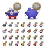 Placez les pièces de monnaie d'euro d'économies Photo libre de droits