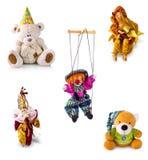 Placez les poupées et les jouets du ` s d'enfants photographie stock libre de droits