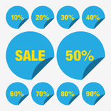 Placez les pour cent bleus d'icône de vecteur d'étiquette de vente de calibre, vecteur de vente d'étiquette, placez le vecteur de Image libre de droits