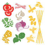 placez les produits Configuration sans joint Pâtes et légumes Photo libre de droits