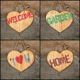 Placez les signes en bois de coeur d'amour de collage de jardin de message bienvenu de maison Image libre de droits