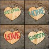 Placez les signes en bois de coeur d'amour de collage de jardin de message bienvenu de maison Photographie stock