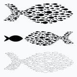 Placez les silhouettes des groupes de poissons de mer Colonie de petits poissons Icône avec des personnes imposant les impôts de  Illustration Stock