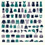 Placez les silhouettes des hommes de collection de mode et des vêtements de femmes illustration stock