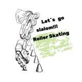 Placez pour des patins de rouleau avec le texte elem tiré par la main de logo Images stock
