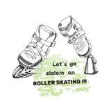 Placez pour des patins de rouleau avec le texte eleme tiré par la main de logo Photo libre de droits