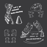 Placez pour des patins de rouleau avec le texte eleme tiré par la main de logo Photographie stock libre de droits