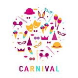 Placez pour la bannière de carnaval avec les icônes plates d'autocollant réglé Illu de vecteur illustration stock