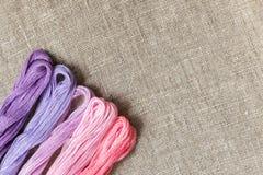 Placez pour la broderie avec la couleur de violette de fil Photo libre de droits