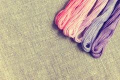 Placez pour la broderie avec la couleur de violette de fil Photo stock