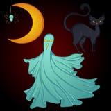 Placez pour la lune de Halloween, fantôme, chat Photos libres de droits