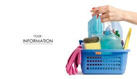 Placez pour la propreté de nettoyage dans un modèle de mains de panier photographie stock
