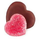 Placez pour le Saint Valentin du chocolat de coeur de forme et de la sucrerie de gelée Photo stock