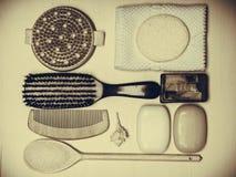 Placez pour le soin du corps de peau, accessoires de bain Photographie stock