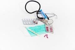 Placez pour le traitement de grippe - concept de santé et de médecine Photos stock