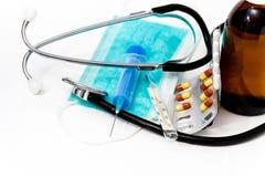 Placez pour le traitement de grippe - concept de santé et de médecine Image stock