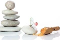 Placez pour une station thermale avec une pyramide des pierres, une spatule avec du sel orange et un papillon image stock